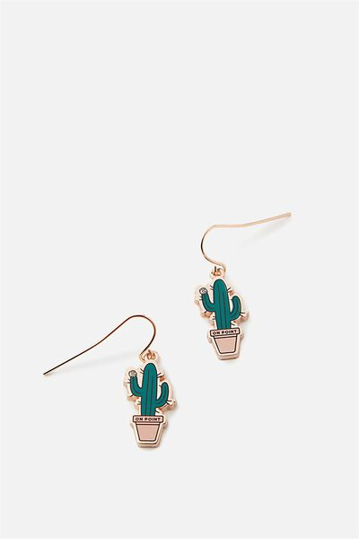 Premium Novelty Earrings, CACTUS