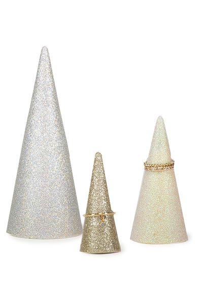Set of 3 jewellery holder, RAINBOW GLITTER