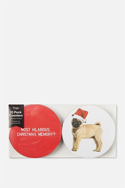 Coaster 10 Pack, REVERSABLE CHRISTMAS DOGGOS