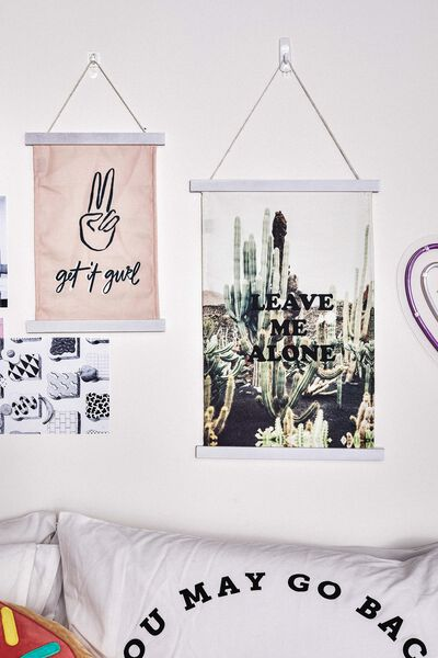 Large Poster Wall Hanging, LEAVE ME ALONE CACTUS