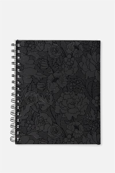 A5 Campus Notebook - 240 Pages, BLACK FLOWER LACE