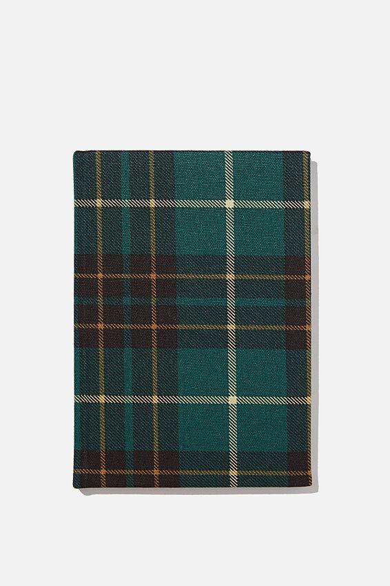 A5 Dot Oxford Notebook, FLANNO CHECK GREEN
