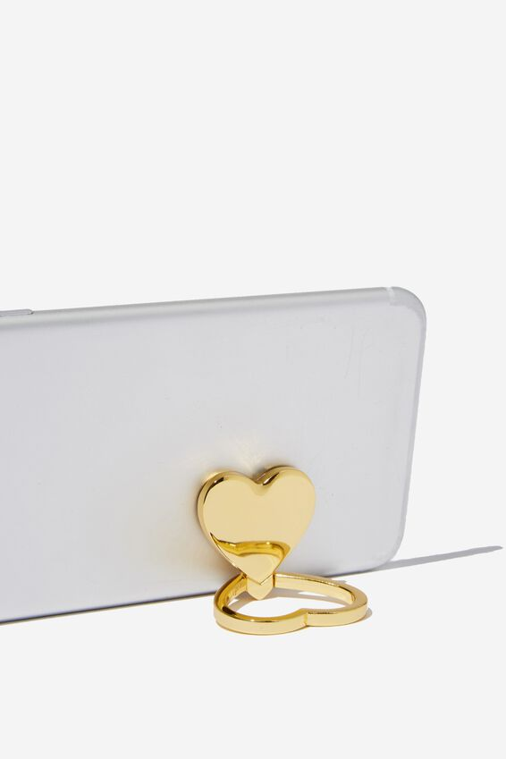 Metal Phone Ring, GOLD HEART