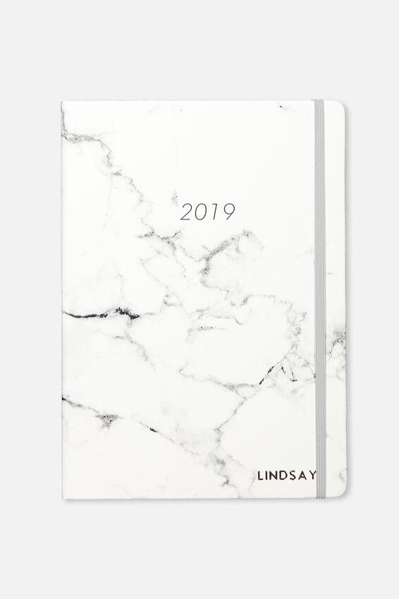 Personalised 2019 A5 Daily Buffalo Diary, GREY MARBLE