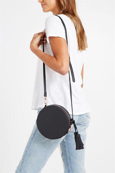 Round Cross Body Bag, BLACK
