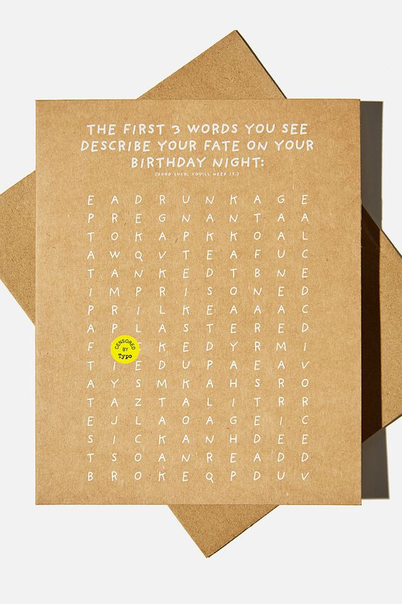 Funny Birthday Card, FIRST 3 WORDS DESCRIBE YOUR FATE!