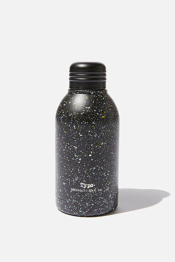 Mini Metal Drink Bottle, BLACK MULTI SPLATTER