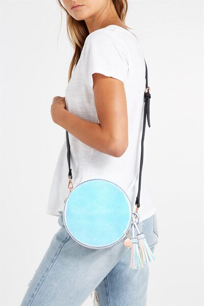 Round Cross Body Bag, IRIDESCENT POLKA