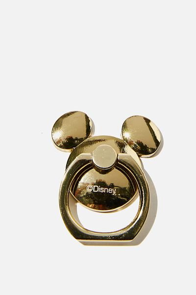 Licenced Metal Phone Ring, LCN DIS GOLD MICKEY HEAD