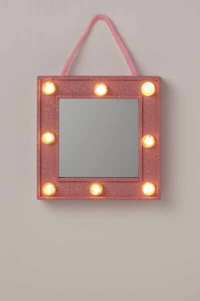 Mini Marquee Mirror Light, PINK GLITTER