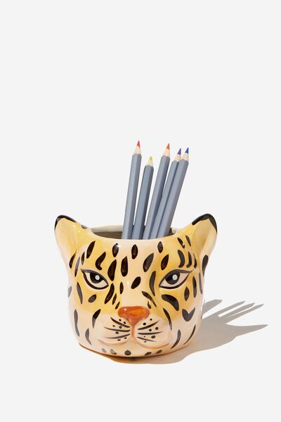 Pen Holder, LEOPARD HEAD