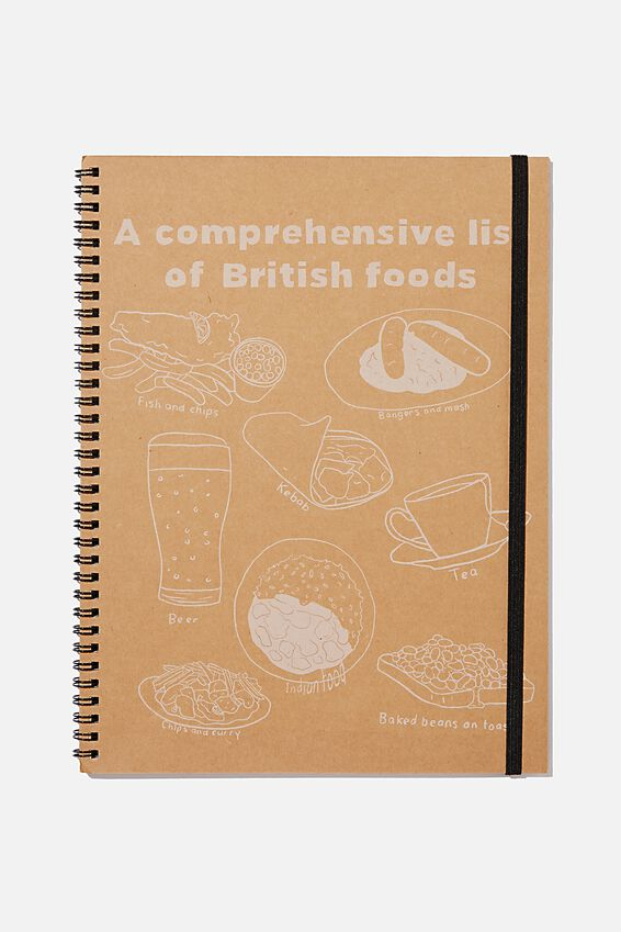A4 Spinout Notebook Recycled, BRITISH FOODS CRAFT