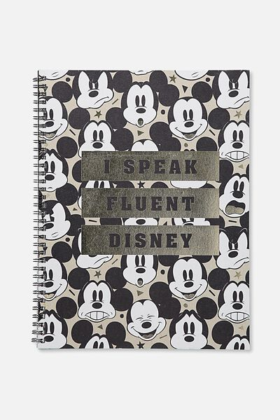 A4 Spinout Notebook - 120 Pages, LCN DISNEY MICKEY HEAD I SPEAK FLUENT DISNEY