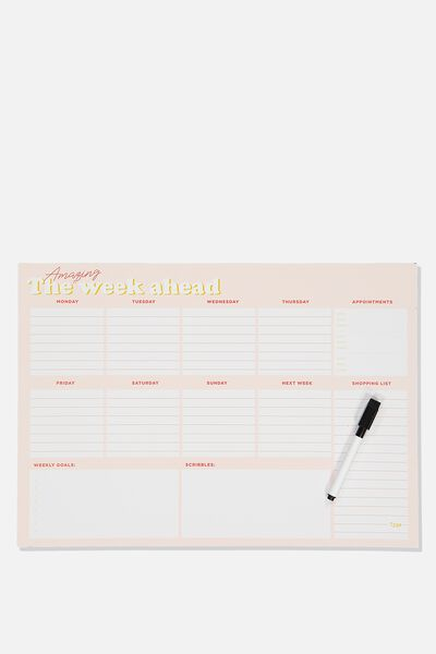 A3 Magnetic Planner, PINK AMAZING WEEK