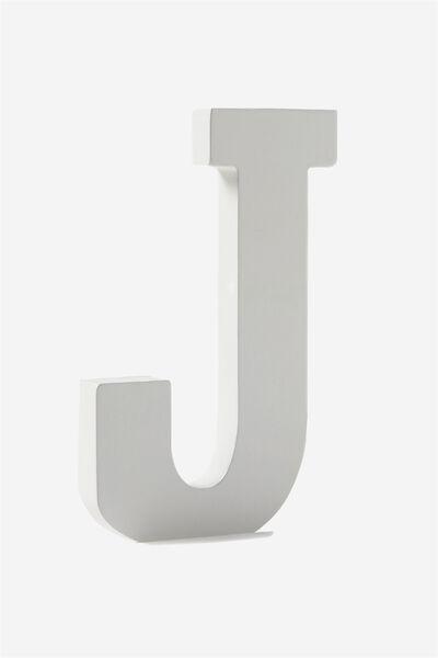 Letterpress Wooden Letter, WHITE J