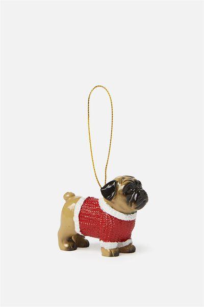 Christmas Ornament, PUG XMAS SWEATER