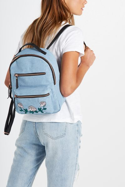 Mini Backpack, CHAMBRAY WITH ROSES