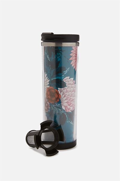 Tea-Riffic Travel Mug, FLORAL GREEN