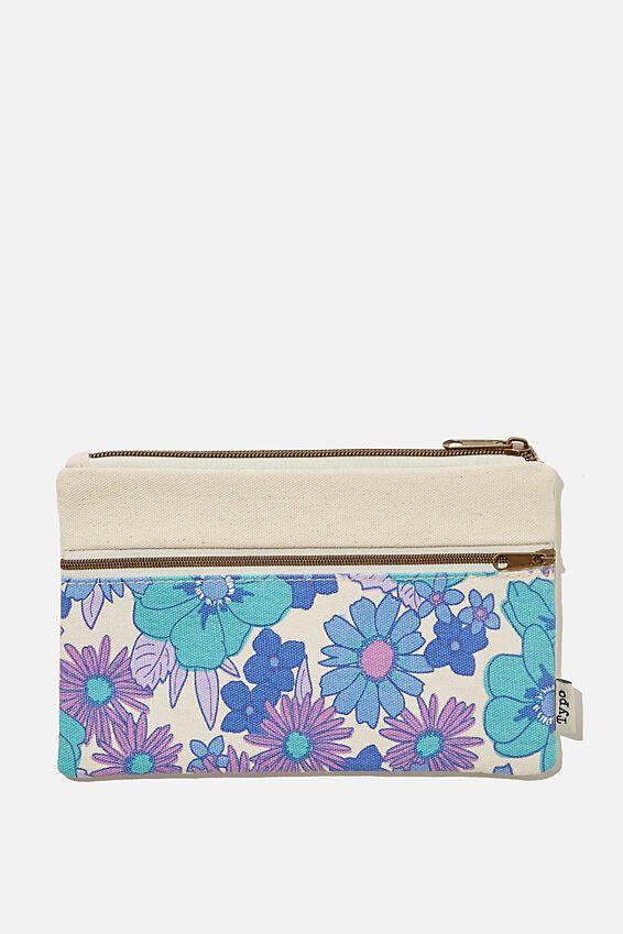 Archer Pencil Case, BLUE STEVIE FLORAL