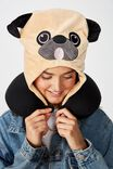 Travel Neck Pillow with Hood, NOVELTY PUG