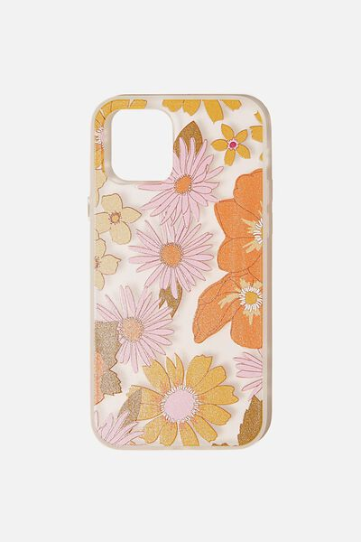 Snap On Protective Phone Case Iphone 12, 12 Pro, STEVIE FLORAL ORANGE AND PINK