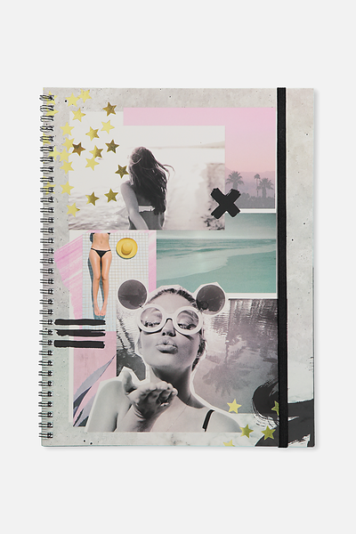A4 Spinout Notebook - 120 Pages, B&W COLLAGE WITH GOLD STARS