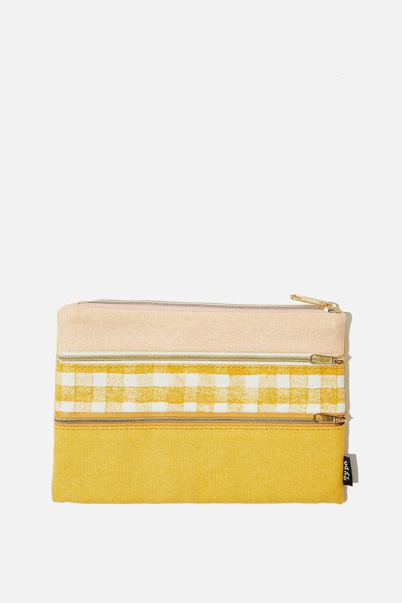 Double Archer Pencil Case, MUSTARD GINGHAM