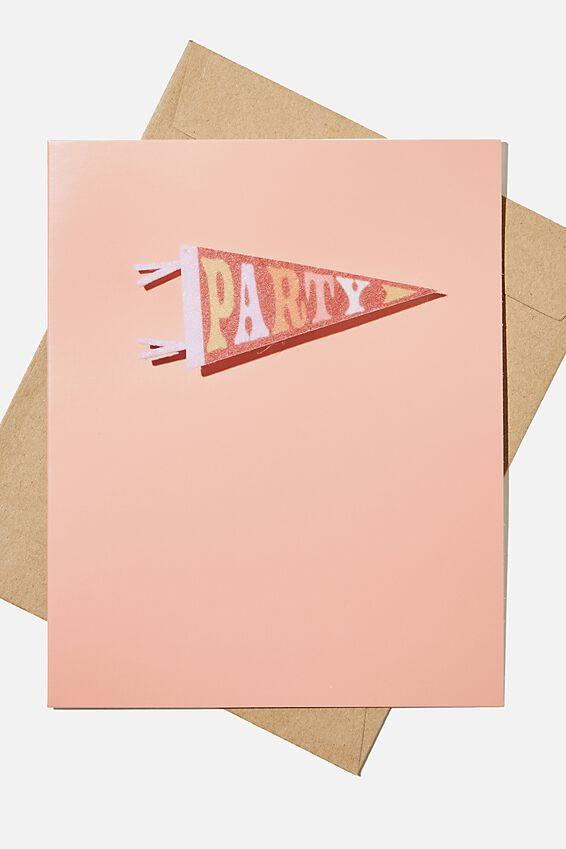 Premium Funny Birthday Card, PARTY PENNANT BADGE
