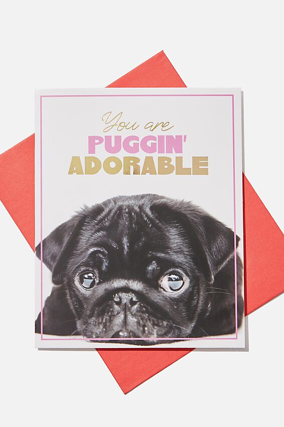 Premium Love Card, POP UP PUGGIN ADORABLE