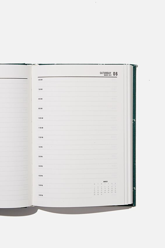 2021 A5 Oxford Daily Diary, DOTTIE FLORAL DEEP GREEN