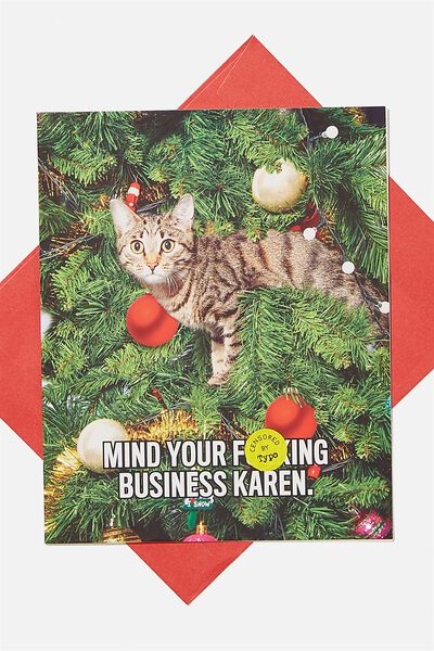 Christmas Card 2020, SCENTED MIND YOUR F*CKING BUSINESS KAREN CAT MEME!