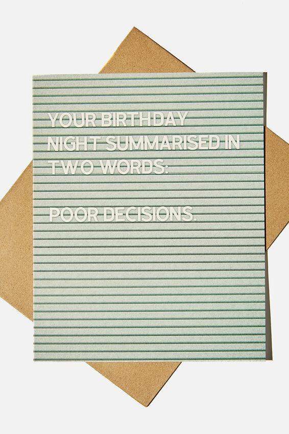 Funny Birthday Card, POOR DECISIONS NOTICE BOARD