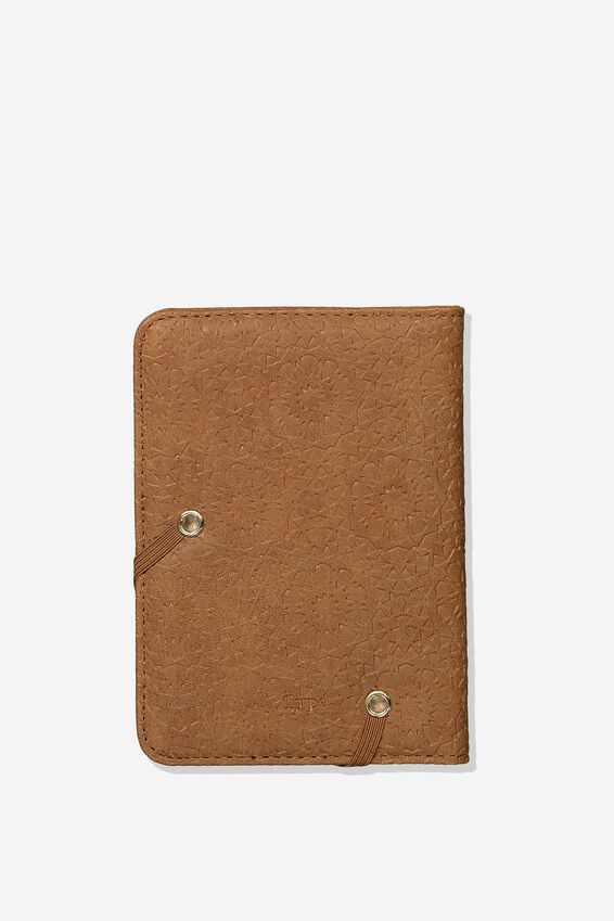 Rfid Passport Holder, TILE TOOLED MID TAN