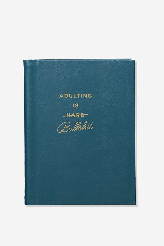 A5 Dot Hidden Spiral Notebook, ADULTING GREEN!
