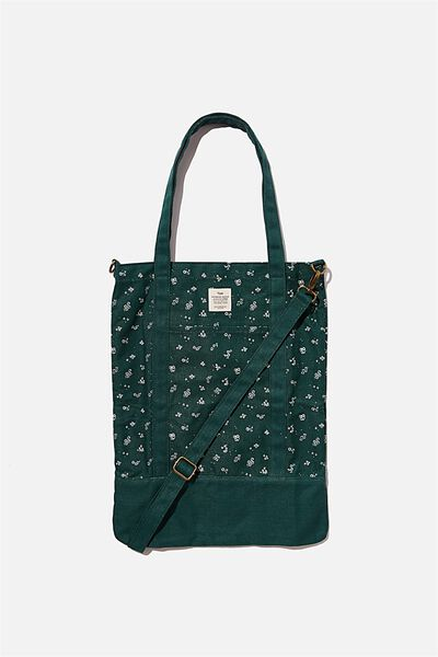 Book Tote Bag, DOTTIE FLORAL DEEP GREEN