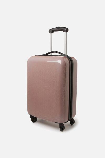 Small Glitter Suitcase, ROSE GOLD GLITTER