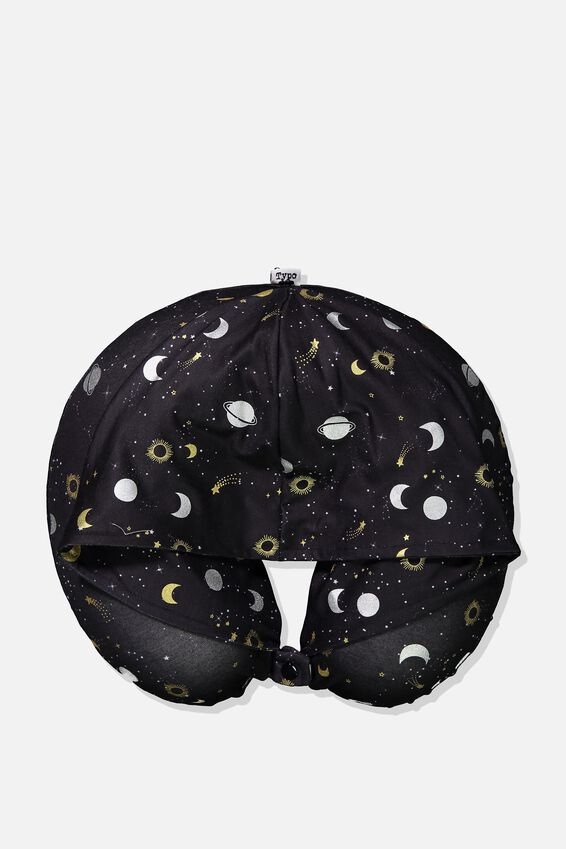 Travel Neck Pillow with Hood, CONSTELLATION PRINT
