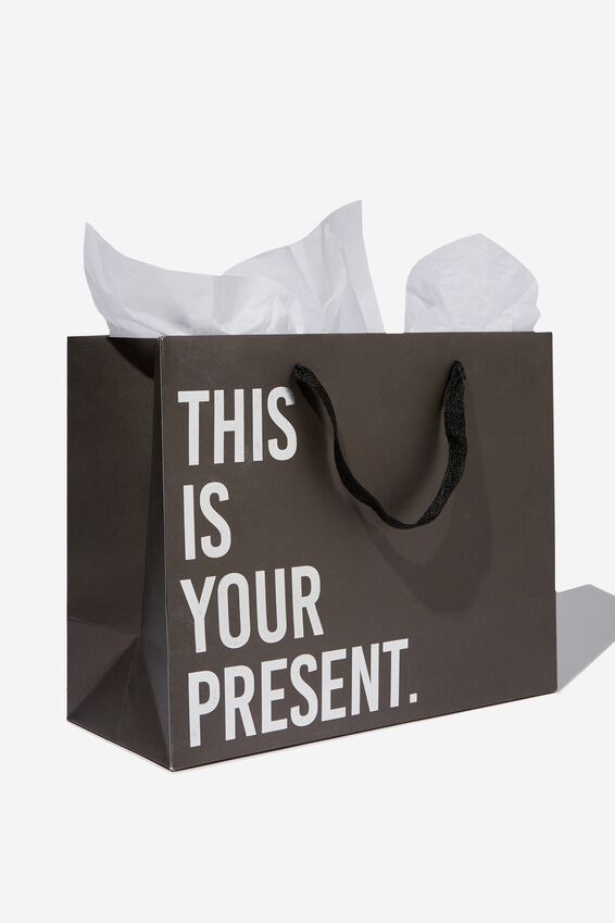 Stuff It Gift Bag - Medium, SILVER THIS IS YOUR PRESENT