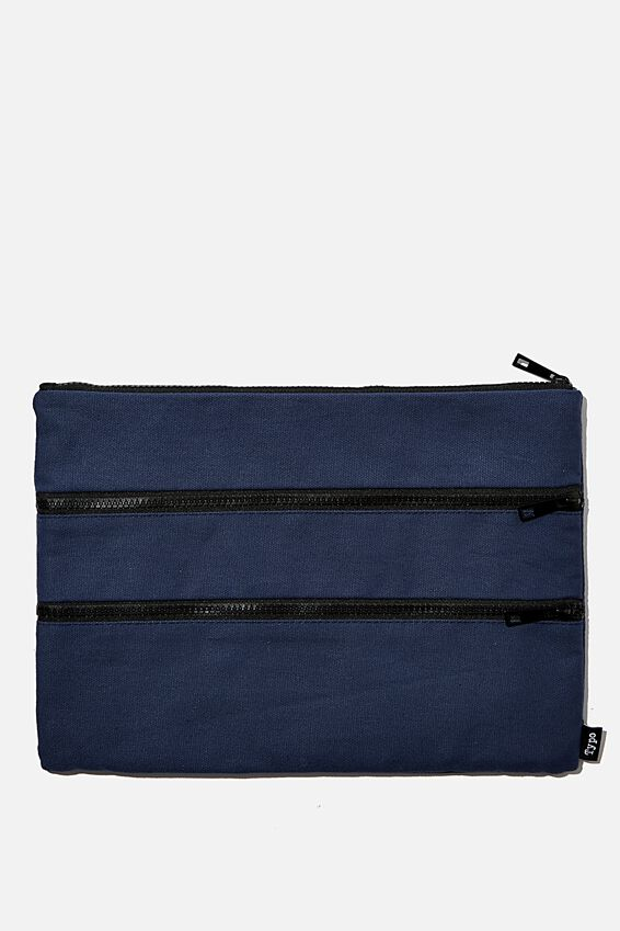 Keep It Together Pencil Case, NAVY WASHED CANVAS