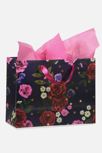 Medium Gift Bag with Tissue Paper, NAVY FLORAL