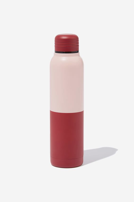 Small Metal Drink Bottle, RED TWO TONE