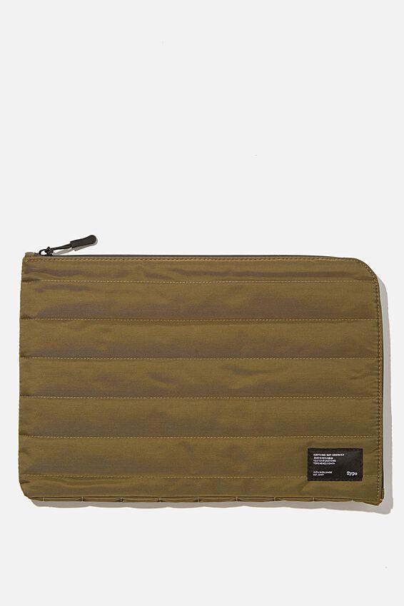 Utility Recycled 11 Inch Laptop Case, KHAKI AND PAPAYA