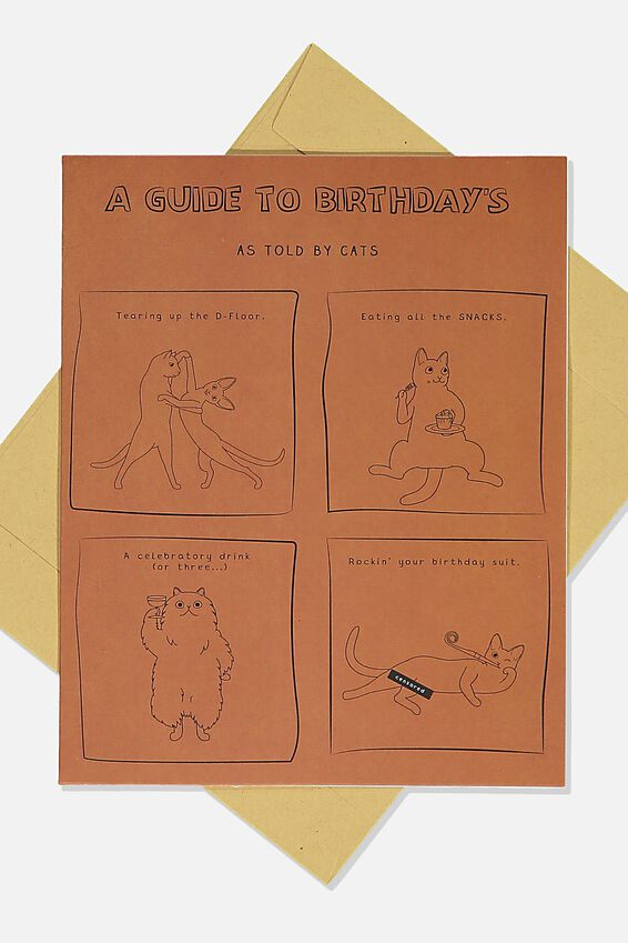 Funny Birthday Card, GUIDE TO BIRTHDAYS BY CATS