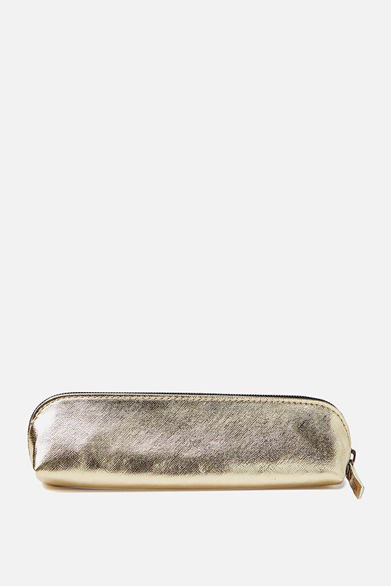 Buffalo Barrel Pencil Case, GOLD CROSS HATCH