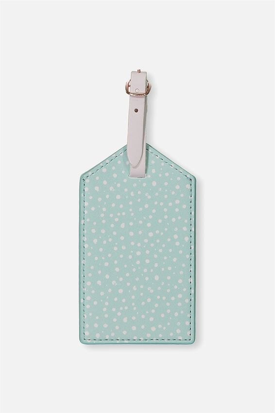 Luggage Tag, AQUA POLKA