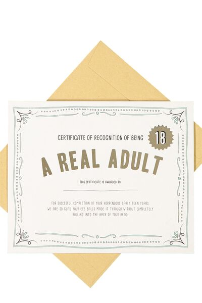 Age Card, 18 REAL ADULT