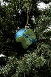 Glass Christmas Ornament, WORLD GLOBE