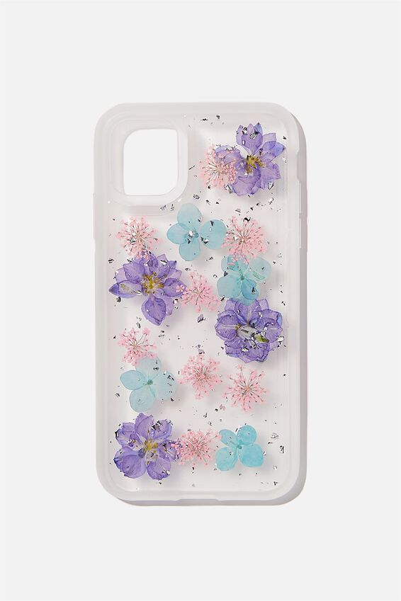 Protective Phone Case iPhone 11, BLUE & PINK TRAPPED FLOWER