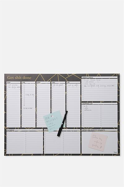 A2 Plan Ahead Planner, BLACK AND GOLD SPLICE