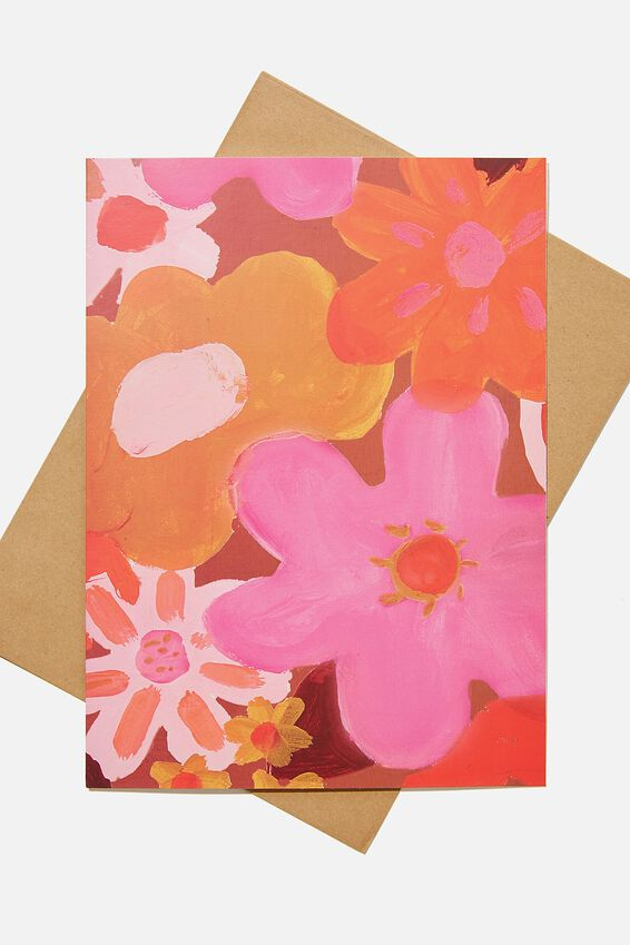 Large Fashion Card, PAINTED FLOWERS